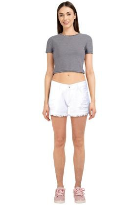 Womens 3 Pocket Solid Shorts