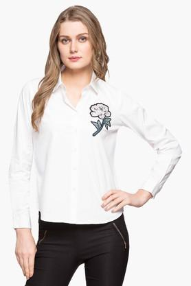 6e627fd0ac4 X FRATINI WOMAN Womens Collared Solid Shirt