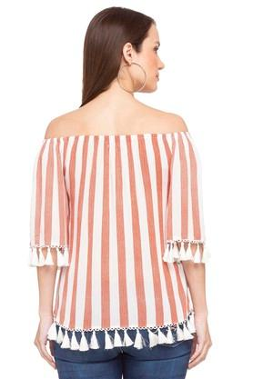Womens Off Shoulder Stripe Top