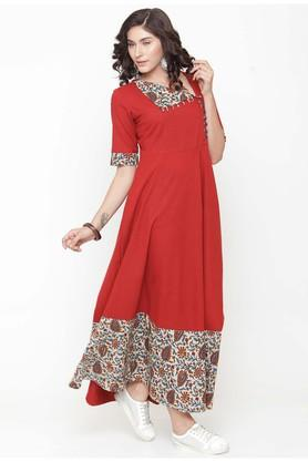 Women Cotton Solid Empire Waist dress