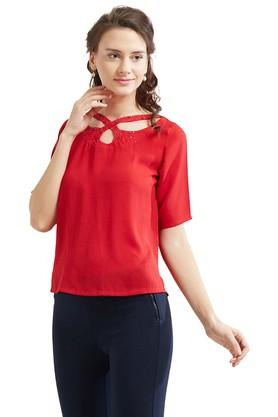 Womens Criss Cross Neck Embellished Top