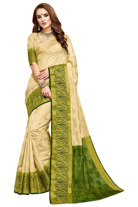 ASHIKA Printed Tussar Silk Saree With Blouse Piece