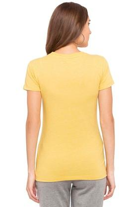 Womens Round Neck Slub Applique Top
