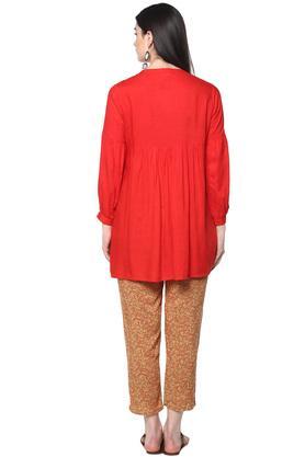 Womens Mandarin Collar Solid Kurta and Pants Set