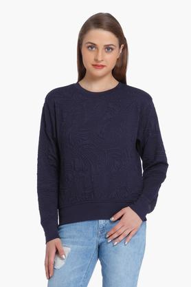 ONLY Womens Round Neck Textured Sweatshirt