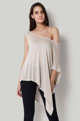 Womens One Shoulder Solid Top