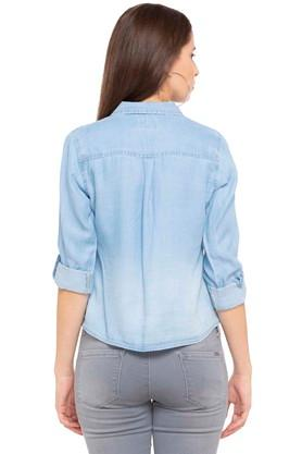 Womens Tie Up Washed Casual Shirt