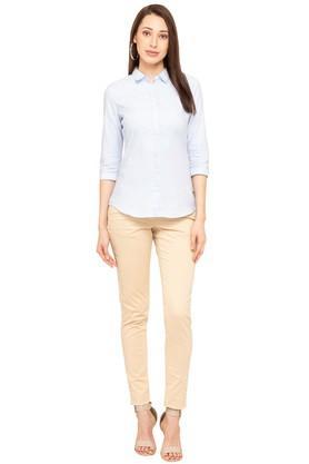 Womens Collared Self Pattern Shirt