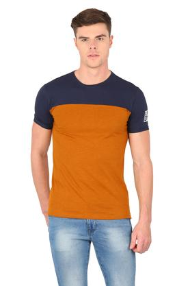 Mens Round Neck Colour Block T-Shirt
