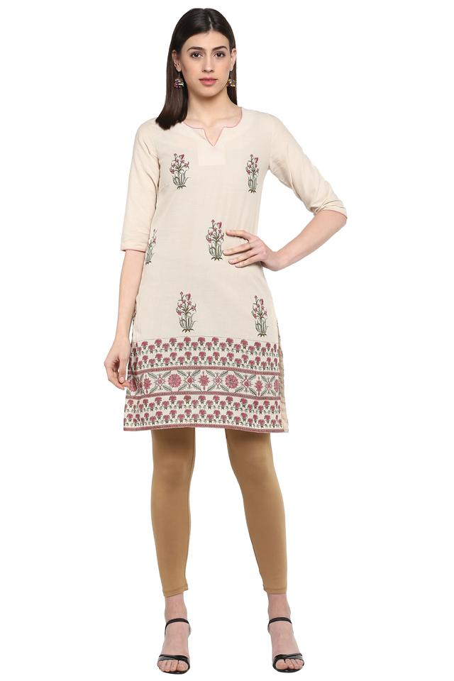 Womens Notched Collar Printed Kurta