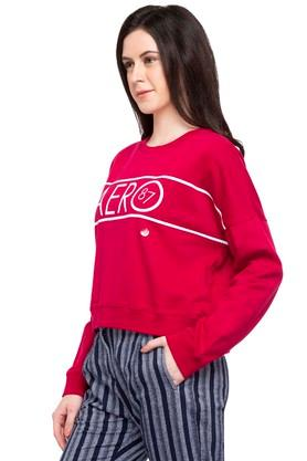 Womens Round Neck Printed Sweater