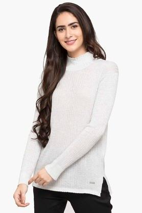 PEPE Womens High Neck Slub Sweater