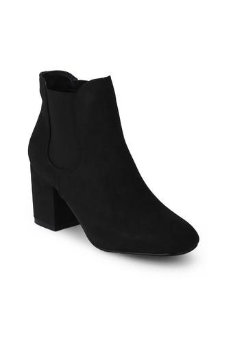 Womens Slip On Block Heeled Ankle Boots
