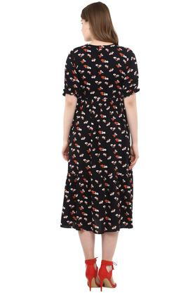 Womens V Neck Floral Print Midi Dress