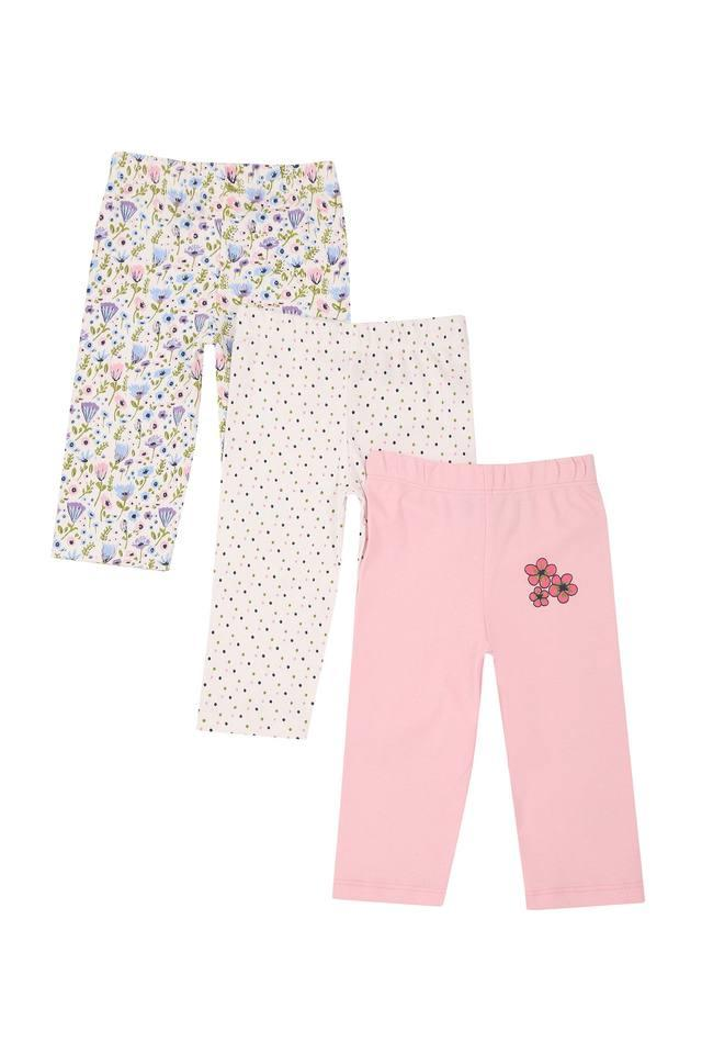 Kids Floral Print Dot Pattern and Solid Pyjama - Pack Of 3