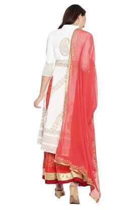 Womens Mandarin Collar Printed Lehenga Choli and Dupatta Set