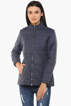 APSLEYWomens Zip Through Neck Solid Quilted Jacket