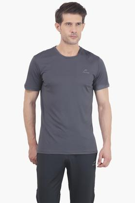 ALCIS Mens Slim Fit Round Neck Solid T-Shirt - 203098770