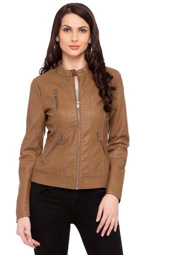 Womens Band Neck Solid Jacket