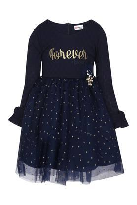Girls Round Neck Embellished Layered Dress