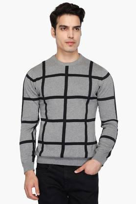 UNITED COLORS OF BENETTONMens Round Neck Check Sweater