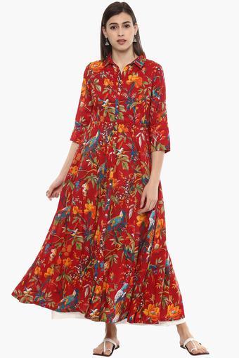 99da71ecd3f4 Buy BIBA Womens Floral Print Maxi Dress
