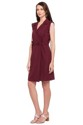 Womens Notched Lapel Solid Wrap Dress
