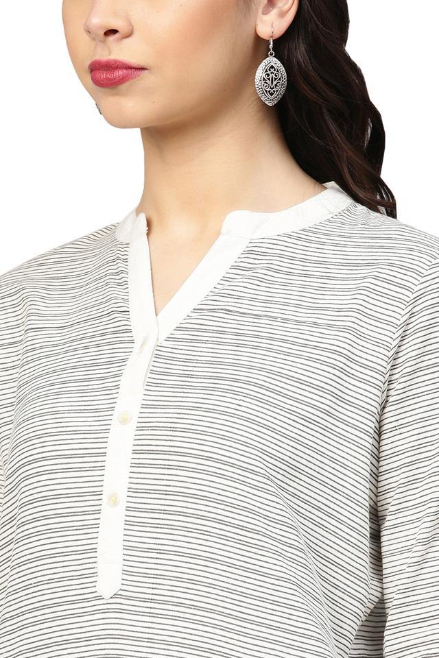 Womens Mandarin Collar Stripe Kurta