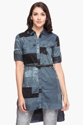 Womens Collared Printed Dipped Hem Long Shirt