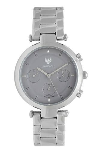 Womens Chronograph Grey Dial Metallic Watch - 9150-11