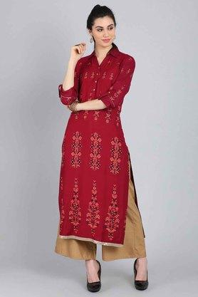 W Womens Embroidered Straight Kurta