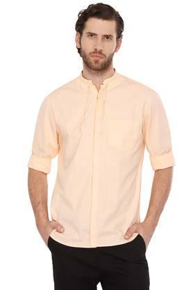 Mens Mao Collar Slub Shirt