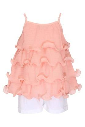 Girls Strappy Neck Solid Flared Top and Shorts Set