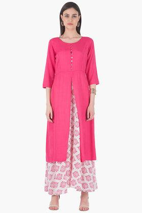 INDYA Womens Round Neck Solid Regular Fit Kurta - 203316724