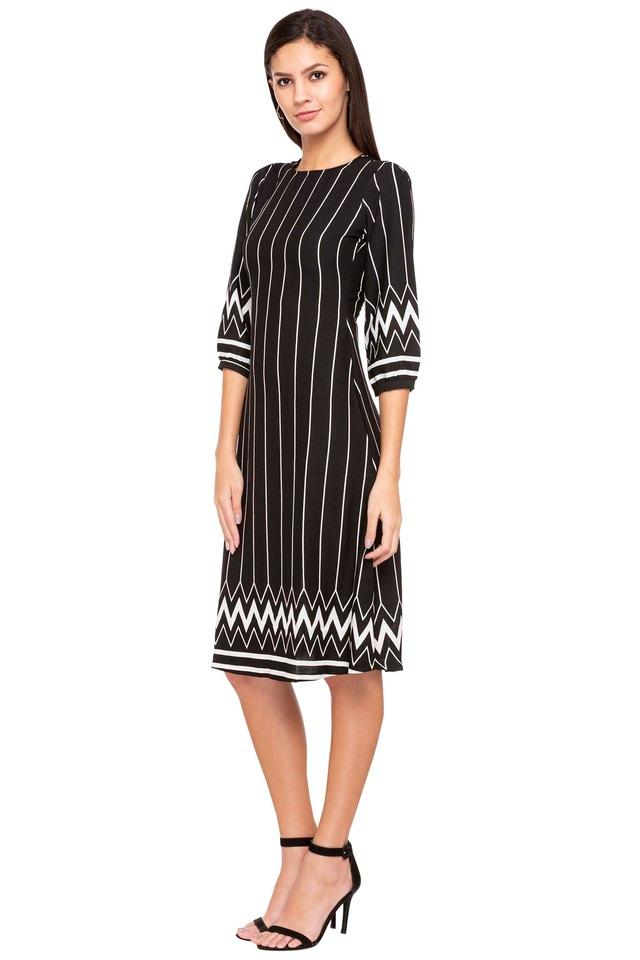 Womens Round Neck Stripe Midi Dress