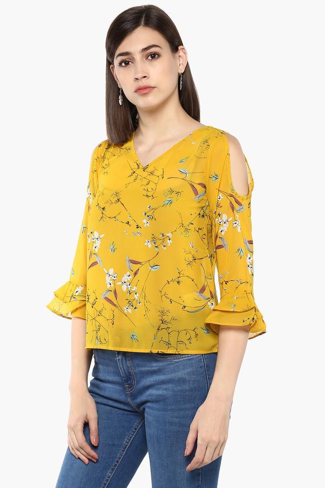 Womens V-Neck Floral Print Top