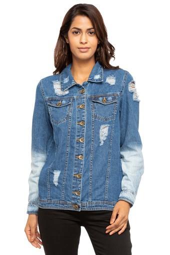 Womens Collared Stone Wash Jacket