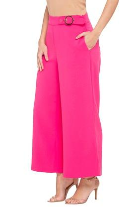 Womens Solid Flared Pants