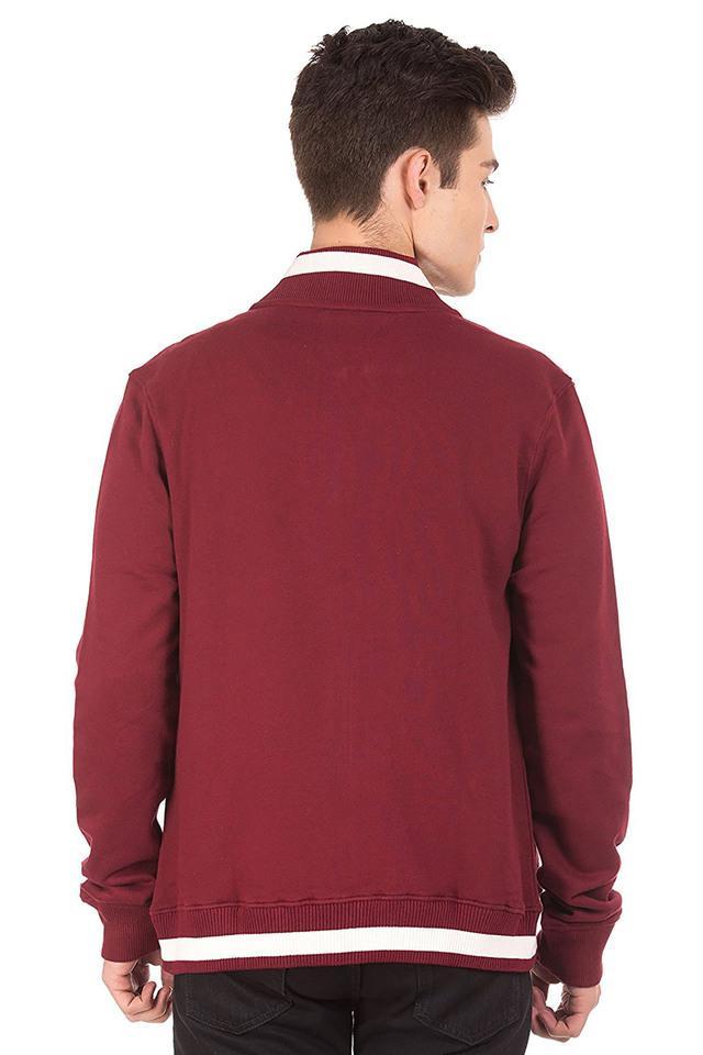 Mens Zip Through Solid Sweatshirt