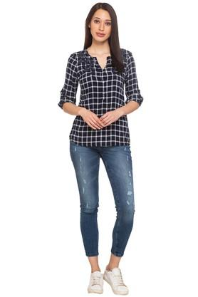 Womens Notched Neck Checked Tunic