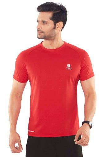 Mens Round Neck Self Pattern T-Shirt