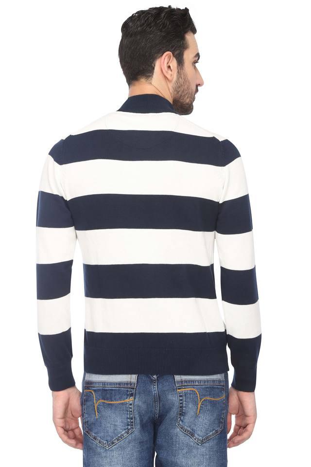 Mens Zip Through Neck Striped Sweater