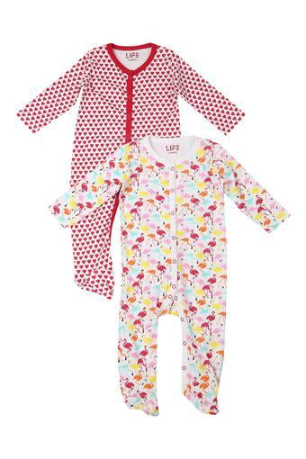 Girls Round Neck Printed Sleepsuits - Pack Of 2