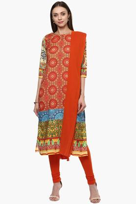 HAUTE CURRY Womens Round Neck Churidar Suit