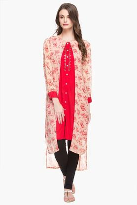 RS BY ROCKY STAR Womens Round Neck Printed Layered Kurta