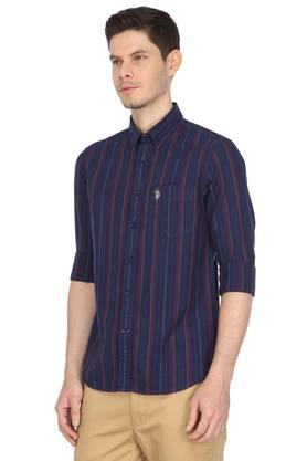 Mens Button Down Collar Striped Shirt