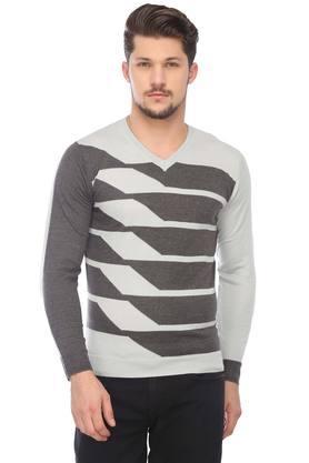 VAN HEUSENMens V-Neck Slub Sweater - 204716783_9204