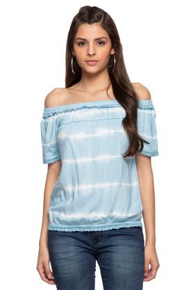 Womens Off Shoulder Neck Tie Dye Top