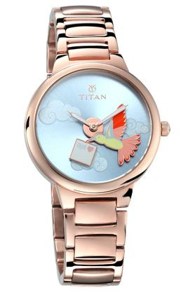 TITANWomens Purple Collection Analog Hummingbird Charm Watch - 95081WM01