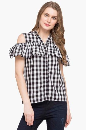 53dfc239367c2 Buy LIFE Womens Mandarin Neck Check Shirt